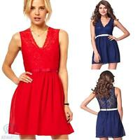 Casual Summer Party Dress Size 8 10 Sleeveless V Neck Lace Ribbon Mini Skater