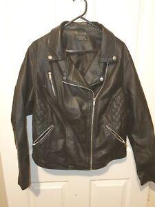 Biker Jacket Black Faux Leather Sz18
