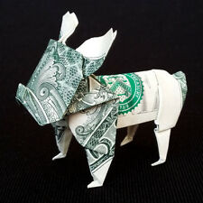 Origami Dollar French BULLDOG Sculpture Money Dog Figurine Real $1 Bill Figure