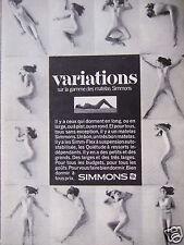 PUBLICITÉ 1971 variations sur gamme des matelas SIMMONS