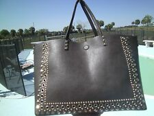 NWT UNDER ONE SKY REVERSIBLE BLACK BROWN GOLD TOTE W/REMOVABLE SHOULDER STRAP