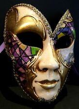 MAR6 BUTTERFLY MASK, HANDMADE IN VENICE, PAPIER MACHE, HANDPAINTED PURPLE/GOLD
