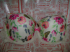NWT VICTORIA'S SECRET DREAM ANGELS LINED DEMI BRA 38DD WHITE FLORAL RED SOLD OUT
