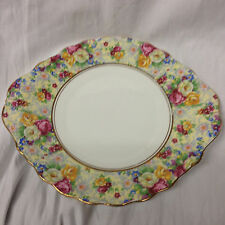 "ROYAL ALBERT ROSETIME HANDLED CAKE PLATE 9 3/4"" PINK YELLOW WHITE ROSES CHINTZ"