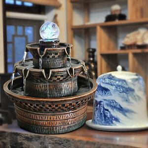 Zimmerbrunnen mit LED-Beleuchtung Feng Shui Tisch dekorativer Brunnen Drehkugel
