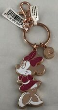 Disney Parks Minnie Mouse Rose Gold Sparkly Keychain WDW - NEW