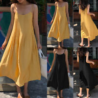 Ladies Camisole CaFlare Skater Womens Strappy Vest Swing Maxi Dress Plus Size
