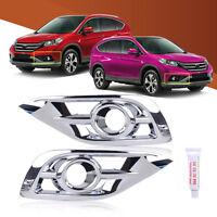 2pcs Chrome Plated Fog Light Lamp Bezel Trim Cover For Honda CR-V 2012-2014