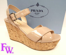 New PRADA Size 8.5 Nude Patent Platform Cork Sandals 8 1/2 Shoes 39