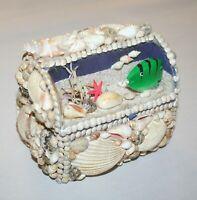 Vintage Sea Shell Encrusted Trinket Jewelry Box, Hinged Lid, Faux Aquarium