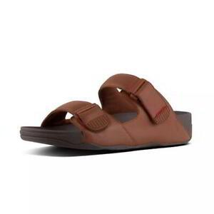 FitFlop Gogh Moc Mens Brown Adjustable Slide Slip On Sandals Size 8-11