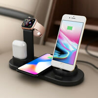 Qi Wireless Charger Dock Charging Stand For iWatch Air pods iPhone 11 XR XS Max8