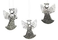 Glass Angels Set of 3 Hanging Ornaments Xmas Christmas Tree Decoration