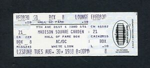 1988 AC/DC Unused concert ticket Madison Square Garden NY Blow Up Your Video