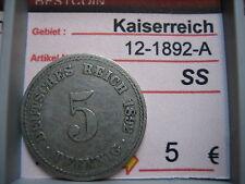 J 12   5 Pfennig  1892 A in SS