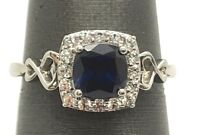 Sterling Silver Faceted Cushion Blue Tanzanite - CZ Halo Cocktail Ring Size 6.75