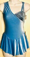 GK ICE FIGURE SKATE ADULT SMALL ASYM BLUE VELVET SWEETHEART JA FOIL DRESS AS NWT