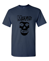 Brand New Misfits Fiend Skull Punk Rock Band T-Shirt Sizes S-2XL Navy