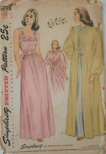 Vintage Simplicity Sewing Pattern #1798 Misses Size 14 Nightgown With Negligee