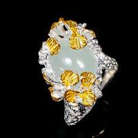 Aquamarine Ring Silver 925 Sterling Jewelry Unique Design Size 7.75 /R139438