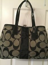 COACH 13533 Black Signature C Stripe Leather KISS LOCK Purse Shoulder Bag