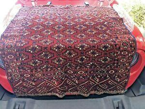 Auth: Antique Turkmen Bukhara Tekke Tribes Tent Rug     Red Wool Beauty 4x4   NR