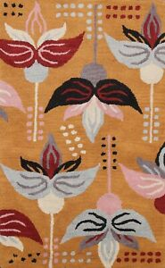 Floral Modern Oriental Area Rug Contemporary Hand-Tufted Wool Orange Carpet 3x5