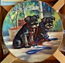"""Puppy Playtime Plate """"A New Leash On Life� by Jim Lamb Hamilton Collection w Coa"""