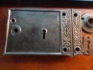 Large Ornate 1800's Door Rim Lock Security Latch (RL 7) Refurbished