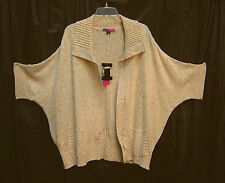 MARLED ZIP-FRONT KNIT CROCHET DOLMAN PONCHO CARDIGAN JACKET SWEATER TOP~3X~NEW