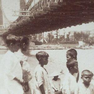 Pasig River Puente Colgante Suspension Bridge Manila Philippines Stereoview M25