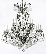 "Swarovski Crystal Trimmed Wrought Iron Crystal Chandelier Lighting W38"" H44"""
