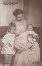Gräfin Ina Maria von Ruppin mit Ihren beiden Söhnen-Fototypie im AK Format