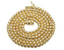 Men' 10K Yellow Gold Genuine Diamond One Row Tennis Prong Chain Necklace 6Ct 4MM