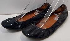 Lanvin Leder schwarz Lack Gummi Öffnung Flache Ballerina Schuhe EU39 UK6