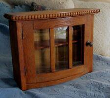 Antique Oak Wooden One Door Cupboard, Old Beveled Glass & Ornate Beaded Detail