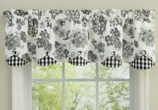 Geranium Black Window Valance Off White Check Lined Scalloped by Park Designs