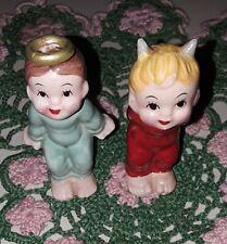 Lefton Kissing Angel And Devil Figurines. Adorable Japan Excellent Condition