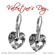 *HEART* 925 Silver Earrings Crystals -COMET CAL -14 mm Crystals from Swarovski®'