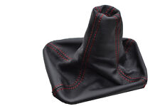 FITS FIAT GRANDE PUNTO EVO 2005-2012 RED DOUBLE STITCHING LEATHER GEAR GAITER