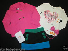 NWT 2T-3T Gymboree Gorgeous Outfit Coat,Jacket,Top,Skort,Tights,Headband