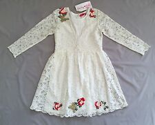 NWT DERHY KIDS GIRLS OFF WHITE LACE DRESS SZ 10/ 12 FLORAL DETAIL  Rene Derhy