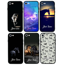 Personalised Glass Back Case for iPhone 6 6s 7 8 PLUS X XS MAX XR / HORSE