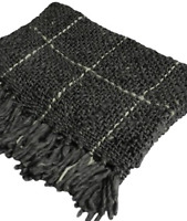 Chunky Knitted Throw Rug Blanket Charcoal Grey Warm Cosy 60% Wool 40% Acrylic