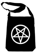 White Inverted Pentagram Crossbody Sling Bag School Goth Punk Metal Alternative