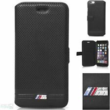 "BMW M perforiert iPhone 6,6s 4,7"" Book Case Cover Handytasche Schutzhülle black"