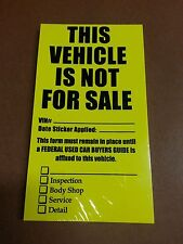 "$ CAR DEALER LOT 100 ~ ""NOT FOR SALE"" WINDSHIELD STICKERS"