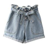 Women Lady High Waisted Denim Shorts Jeans Belt Elastic Summer Casual Hot Pants