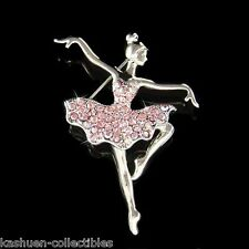 w Swarovski Crystal Pink BALLERINA Figure BALLET DANCER Princess Girl Pin Brooch