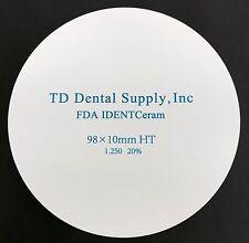 HT Zirconia Disc (98.5 x 10mm) (HIGH TRANSLUCENT)